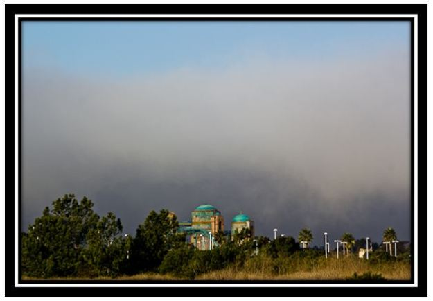 A morning marine layer rolling in over SeaWorld San Diego