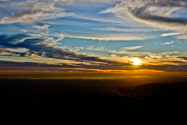 Sunset from Mt. Helix in La Mesa, California, on November 29, 2011