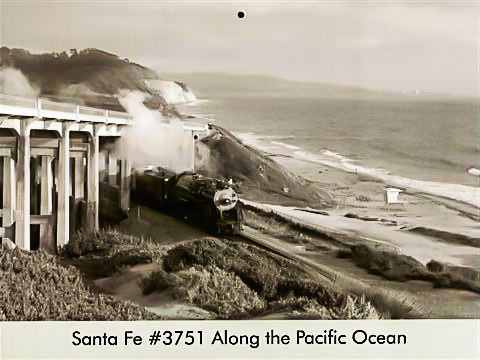 Santa Fe #3751 along the Pacific Ocean