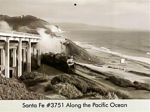 Santa Fe #3751 along the Pacific Ocean