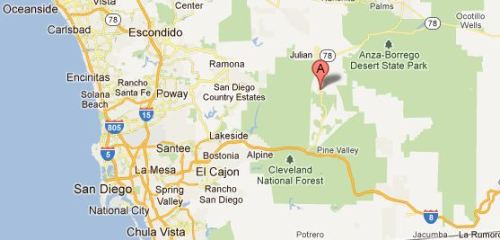 Location of Cuyamaca, California