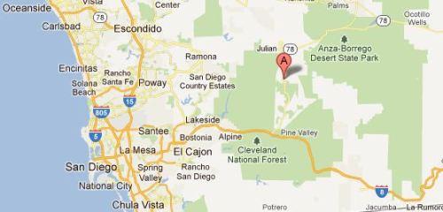Location of Cuyamaca, California