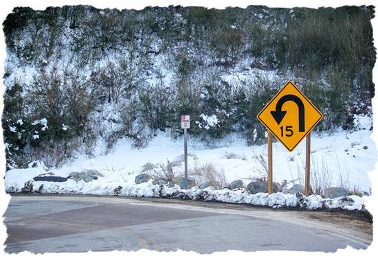 Two-lane winding mountain road to Cuyamaca