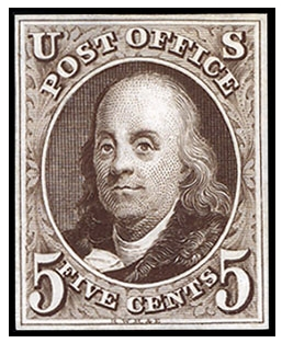 Scott #1, Benjamin Franklin, issued in 1847