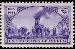 Scott #922, Transcontinental Railroad 75th anniversary