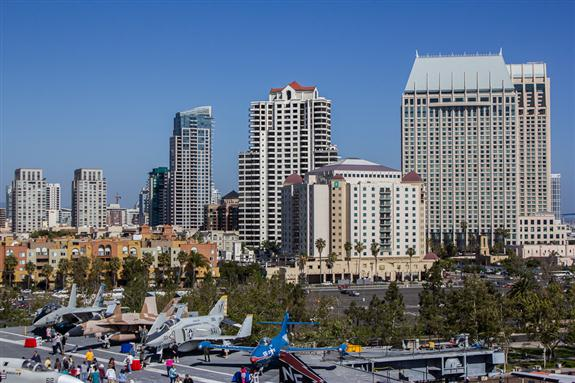 Partial San Diego skyline from the USS Midway