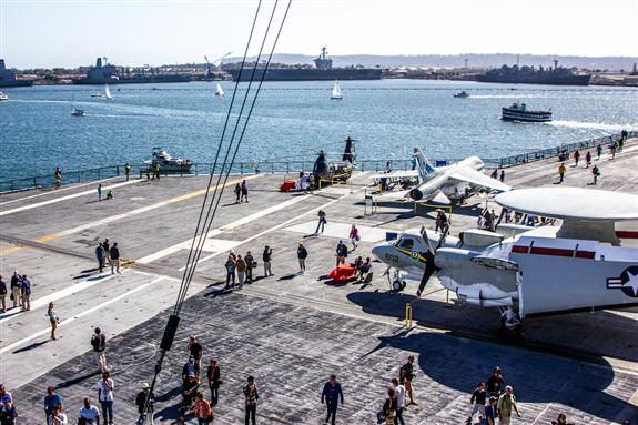 USS Midway flight deck from the command tower