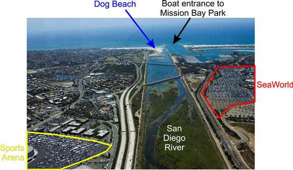 San Diego River from the sky