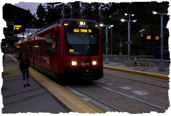 San Diego Trolley at 0542 at 70th Street Station