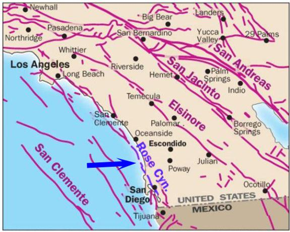 Southern California showing Rose Canyon Fault