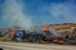 Fire on the freeway