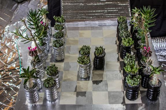 Succulent chess set at the San Diego County Fair