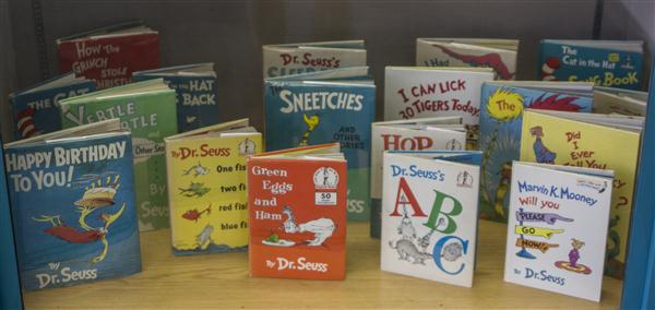 Books by Dr. Seuss at the Geisel Library, University of California San Diego