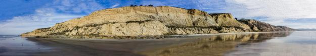 Panorama of Blacks Beach in San Diego, California