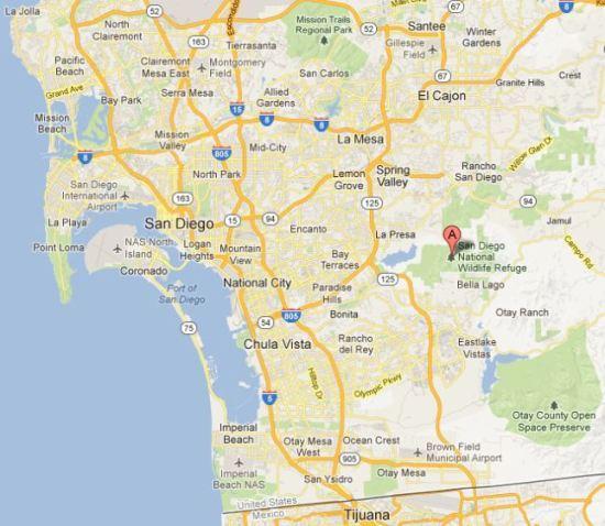 San Diego National Wildlife Refuge map