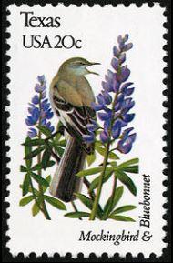 Scott #1995, Texas mockingbird and bluebonnet