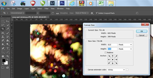 Canvas size window in Photoshop CS6