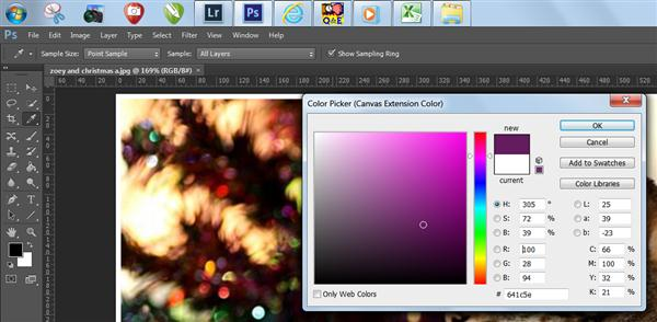 Color picker (Canvas extension color) in Photoshop CS6