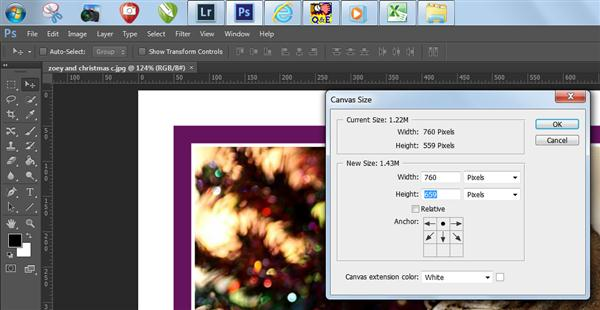 Canvas extension window in Photoshop CS6