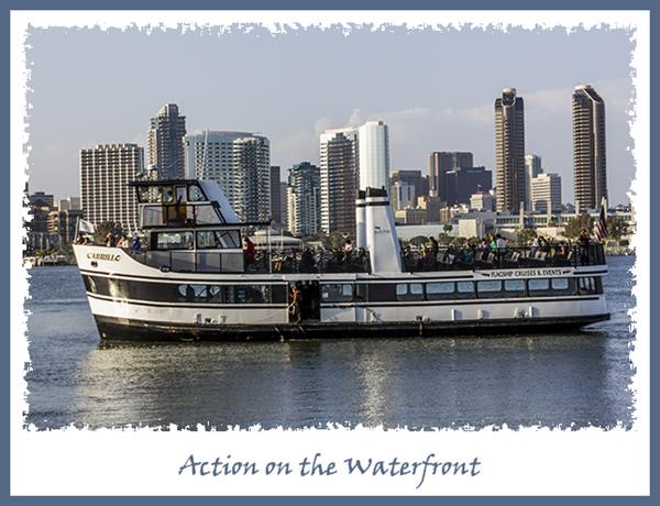 Action on the San Diego waterfront viewed from Coronado