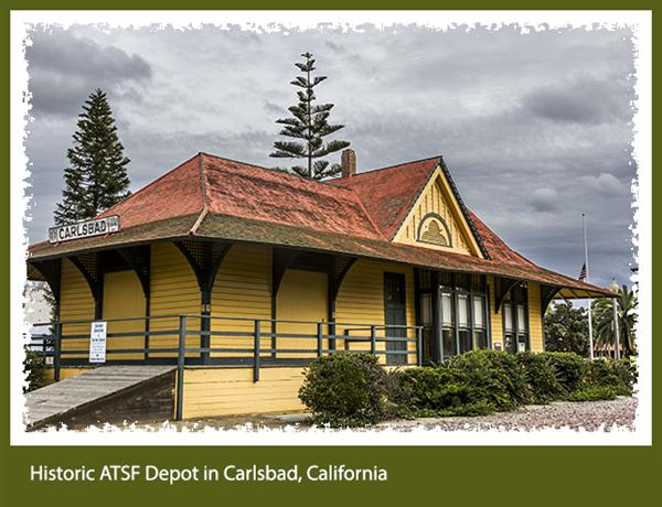 Historic ATSF Depot in Carlsbad, California