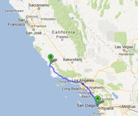 San Diego to San Luis Obispo map