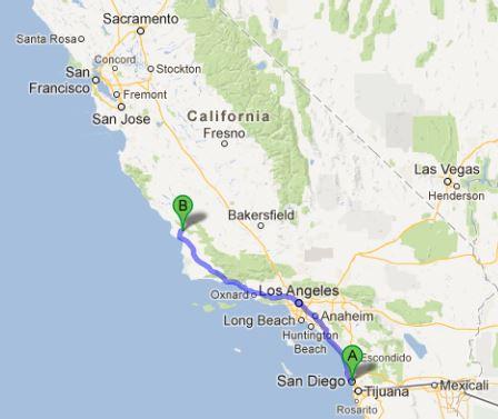 San Diego to San Luis Obispo map