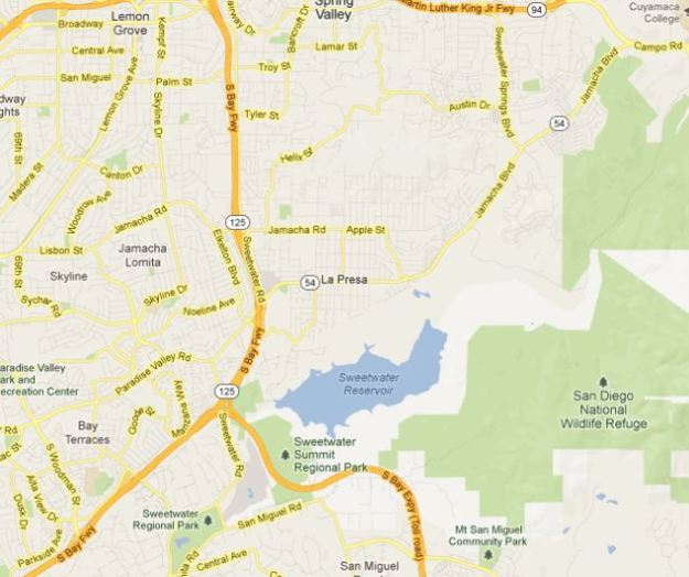Sweetwater Reservoir map