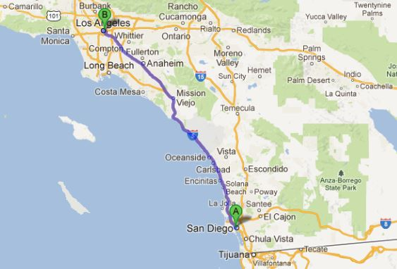 San Diego to Los Angeles map  Russel Ray Photos