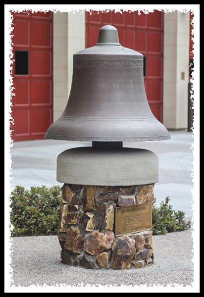 Historic bell at the main fire station in La Mesa, California