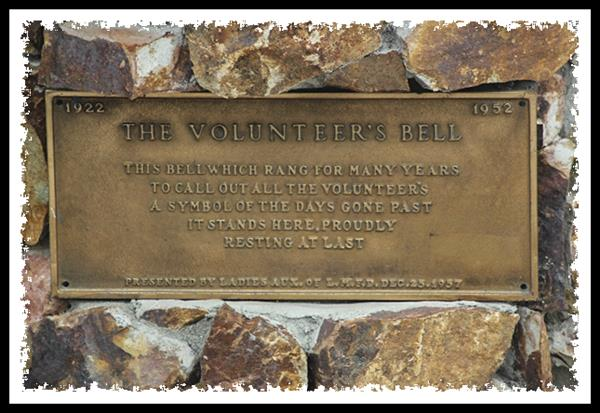 Bell plaque at the main fire station in La Mesa, California