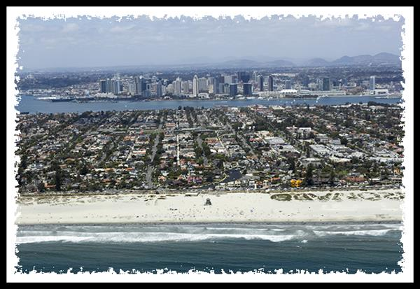 Ocean Beach and downtown San Diego from San Diego Sky Tours