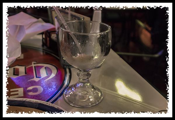 Empty margarita glass at On The Border