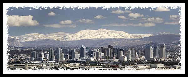 San Diego and snow in the mountains