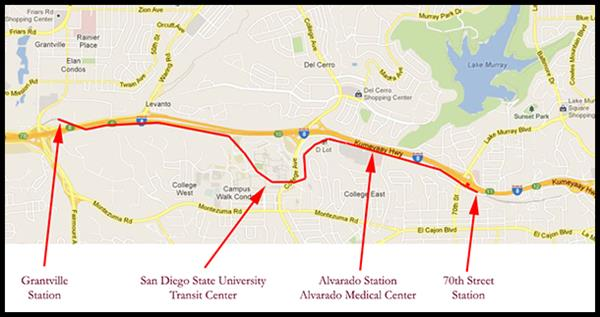 San Diego Trolley map from 70th Street to Grantville