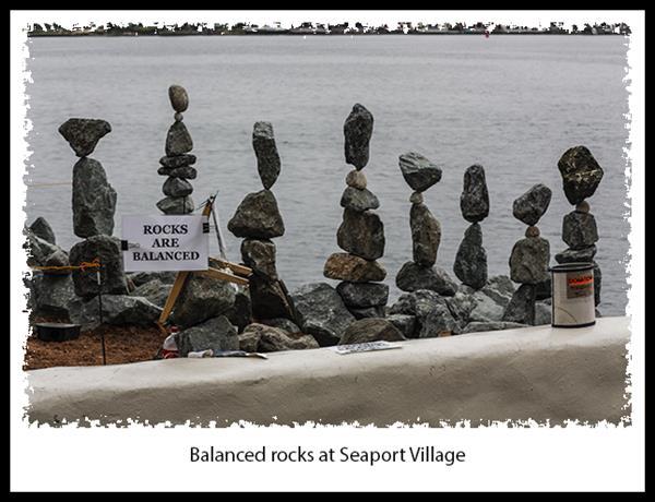 Balanced rocks at Seaport Village in San Diego