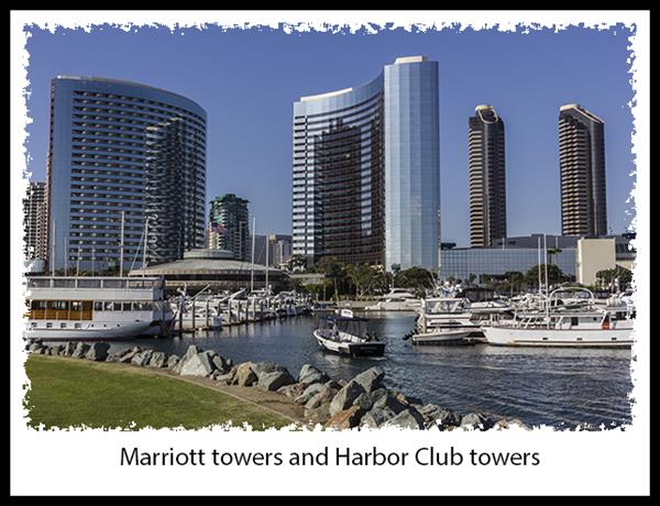 Marriott towers and Harbor Club towers