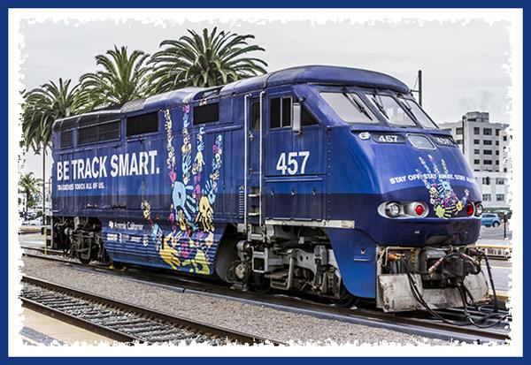 Amtrak engine #457 at Santa Fe Depot in San Diego