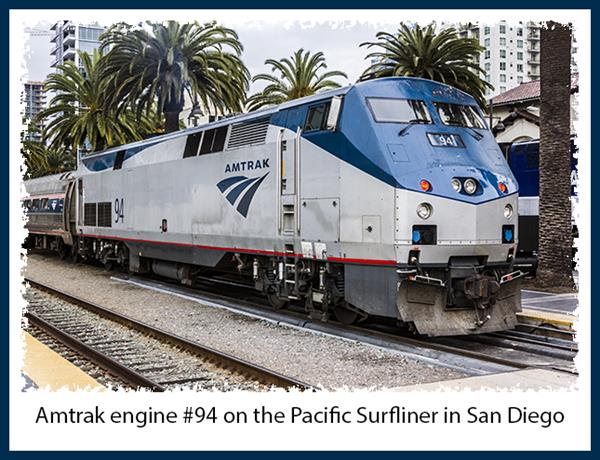 Amtrak engine #94 on the Pacific Surfliner in San Diego