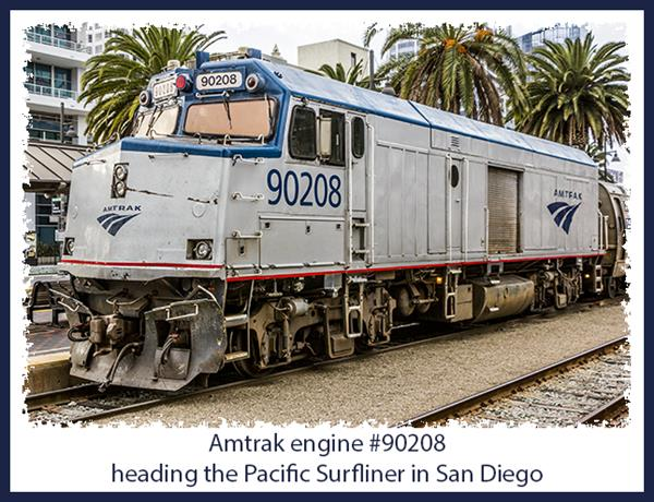 Amtrak engine #90208 heading the Pacific Surfliner in San Diego