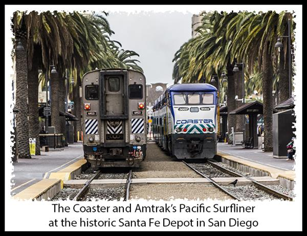 The Coaster and Amtrak's Pacific Surfliner at the historic Santa Fe Depot in San Diego