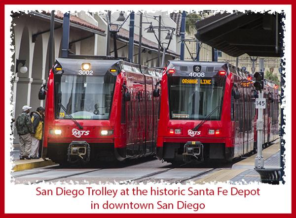 San Diego Trolley at the historic Santa Fe Depot in downtown San Diego