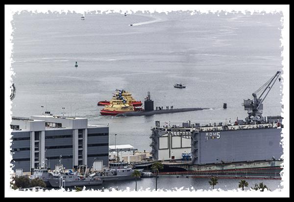 Submarine leaving San Diego