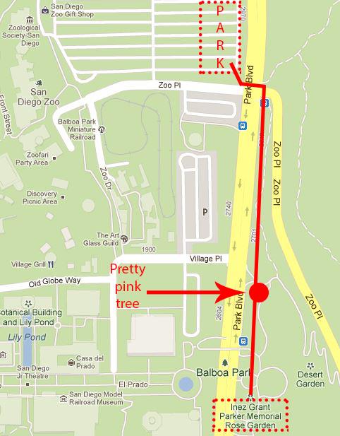 Location of Inez Grant Parker Memorial Rose Garden in Balboa Park, San Diego