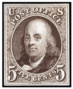 Benjamin Franklin postage stamp, Scott #1
