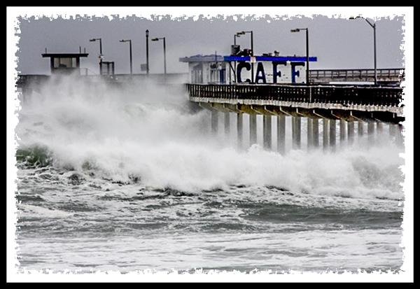 Ocean Beach pier during a storm in San Diego