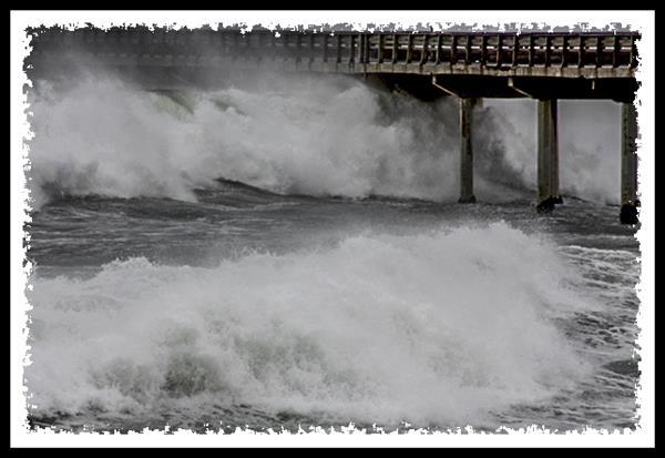 Ocean Beach pier during a storm in San Diego