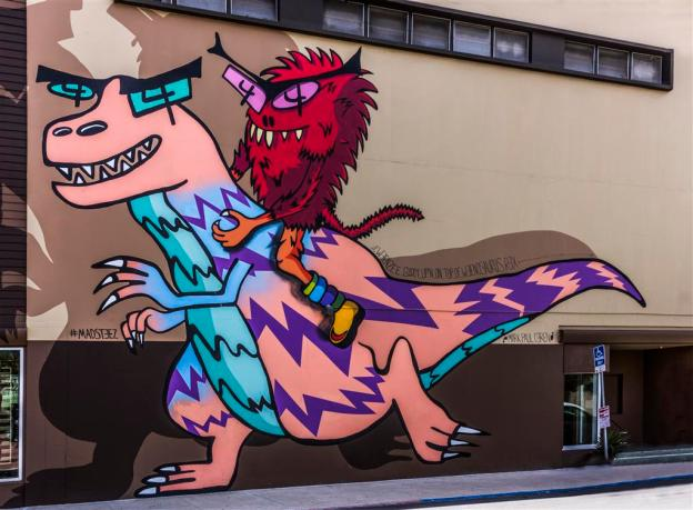 Monsters on a buildiing mural in North Park, San Diego, California