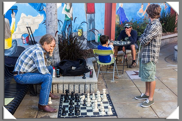 Playing chess at the Classic Car Cruise in La Mesa, California, summer 2013