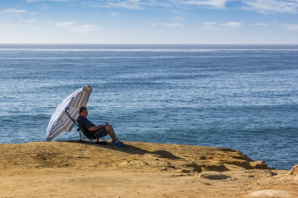 At Sunset Cliffs in Ocean Beach, California